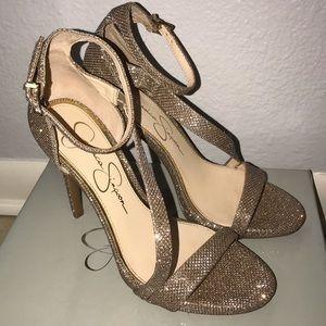 """NWT JS """"Rayli"""" Gold Sparkle Strappy Heels"""